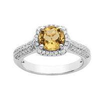 Sterling Silver Simulated Citrine and Cubic Zirconia Ring 8