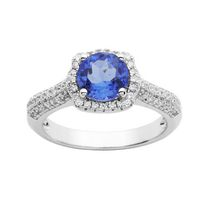 Sterling Silver Simulated Blue Quartz and Cubic Zirconia Ring 7
