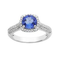 Sterling Silver Simulated Blue Quartz and Cubic Zirconia Ring 8