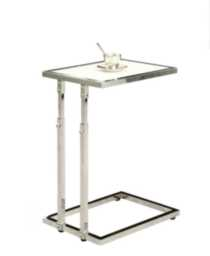 Monarch Chrome Metal Adjustable Height Accent Table / Tempered