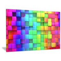 Design Art Rainbow of Colourful Boxes Abstract Metal Artwork 12in x 28in