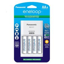 Panasonic eneloop Charger with 4 Pre-Charged Rechargeable AA Ni-MH Batteries