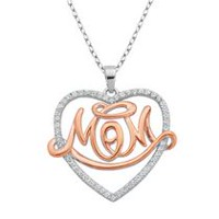 Sterling Silver Rhodium and Rose Gold Plated MOM Heart Pendant with Sparkling Cubic Zirconias.