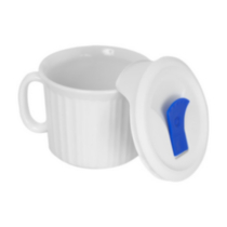 Corningware French White® 20 oz/600 ml Mug with Plastic Vented Cover