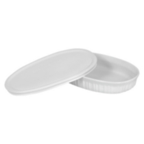 Corningware French White® 23 oz Oval Dish with Plastic Cover