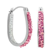 PAJ Iceberg Collection Crystal In & Out Hoop - Hot Pink