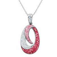PAJ Iceberg Collection Two Tone Crystal Oval Pendant