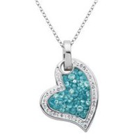 PAJ Iceberg Collection Crystal Heart Pendant - Baby Blue