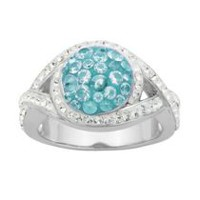 PAJ Iceberg Collection Crystal Round Ring - Baby Blue