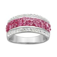 PAJ Iceberg Collection Crystal Band Ring - Hot Pink