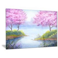 Design Art Flowering Trees Over Lake Landscape Metal Wall Art 30in x 40in