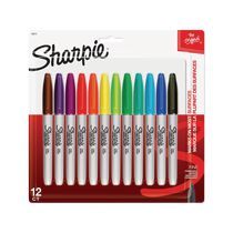 Marqueurs permanents Sharpie, pointe fine, assorties, paquet de 12