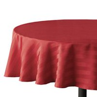 hometrends Round Microfiber Stripe Tablecloth