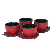 Cuisiland Small Hobnail Cast Iron Tea Cup, Set of 4 Red
