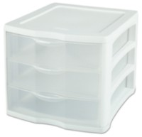 Sterilite 3 Drawer White Unit