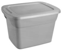 sterilite 68 liter gray tote box