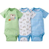 Gerber Chidrenswear Onesies® Newborn Boys' Fashion Short Sleeve Bodysuit - Pack of 3 Newborn