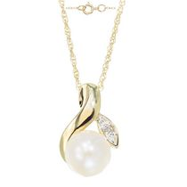 Simply Pearl Collection-10Karat yellow gold 6MM Cultured Freshwater Pearl and Diamond Pendant