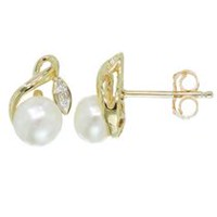 Simply Pearl Collection-10 Karat Earring with 5MM Cultured Freshwater Pearl .01ct