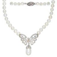 "Simply Pearl Collection-Sterling Silver 18"" Cultured Freshwater Pearl Necklace with Diamond Accent Butterfly centrepiece"