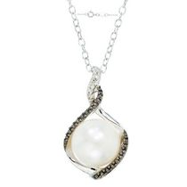 Simply Pearl Collection-Sterling Silver Pendant with 8MM Cultured Freshwater Pearl, black and white diamond accent tdw. .012ct