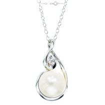 Simply Pearl Collection-Sterling Silver Pendant w/ 9MM Cultured Freshwater Pearl and Topaz