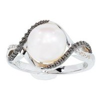 Simply Pearl-Sterling Silver Cultured Freshwater 9MM Pearl ring w/black and white diamond accent  .012ct tdw