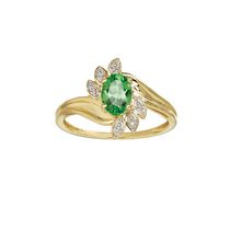 10 Karat yellow gold January Birthstone ring-7/5 oval Genuine Garnet and Diamond Emerald