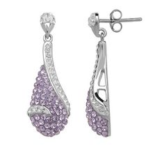 Luminesse Collection-Sterling Silver Earring with tanzanite crystal pave set in teardrop, accented with white crystal
