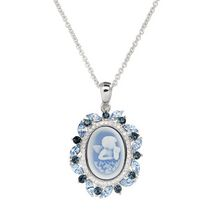 Luminesse Collection-Angel Cameo pendant with Blue Swarovski Crystal Element accent
