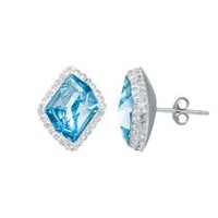Luminesse Collection-Sterling Silver Earring with geometric blue topaz crystal and white crystal accent