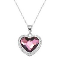 Luminesse Collection-Sterling Silver Pendant w/ faceted 10MM antique pink crystal heart, accented with white crystal