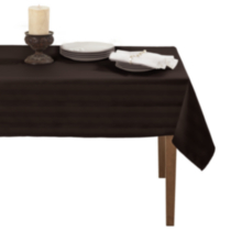 Decolin Canada Inc. Striiped Microfiber Tablecloth Black 132 cm x 178 cm