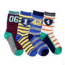 George Boys' Rugby and Stripe Crew Socks, Pack of 4 3-6