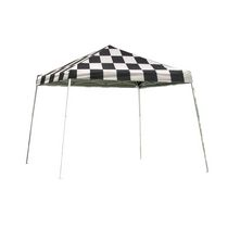 Sport Pop-Up Canopy, 12  x 12 , Slant Leg, Checkered Flag Cover with Storage Bag