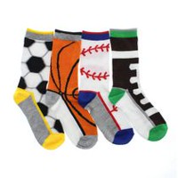 George Boys' Sport Crew Socks, Pack of 4 11-2