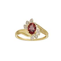 10 Karat yellow gold January Birthstone ring-7/5 oval Genuine Garnet and Diamond. Size other than7.