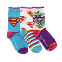 Supergirl Girls' Crew Socks, Pack of 3 13-4