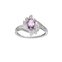 10Kt Birthstone and Diamond White Gold Genuine Amethyst and Diamond Ring 7