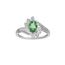 10Kt Birthstone and Diamond White Gold Created Emerald and Diamond Ring 6