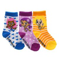 Bubble Guppies Girls' Crew Socks, Pack of 3 2-5