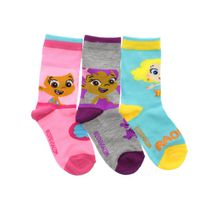 Bubble Guppies Girls' Crew Socks, Pack of 3 5-8