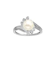 10Kt Birthstone and Diamond White Gold 7MM Genuine Cultured Freshwater Pearl and Diamond Ring 9