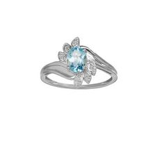 10Kt Birthstone and Diamond White Gold Genuine Blue Topaz and Diamond Ring 6