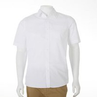 George Men's Plus Size Short Sleeved Dress Shirt White 5XL