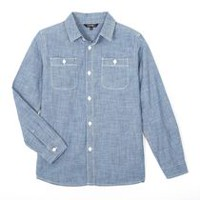 George Boys' Long Sleeved Chambray Shirt Light Blue XL