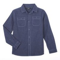 George Boys' Long Sleeved Chambray Shirt Dark Blue S/P