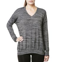Danskin Women's Long Sleeved V-Neck Hacci Top Black M/M
