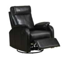 Monarch black bonded leather swivel rocker recliner