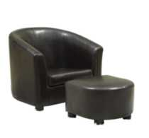 Monarch Specialities Leather-Look Juvenile Chair/Ottoman Dark Brown